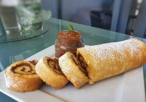 oil free swiss roll with coconut jam